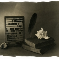 Palladium print Still life with abacus