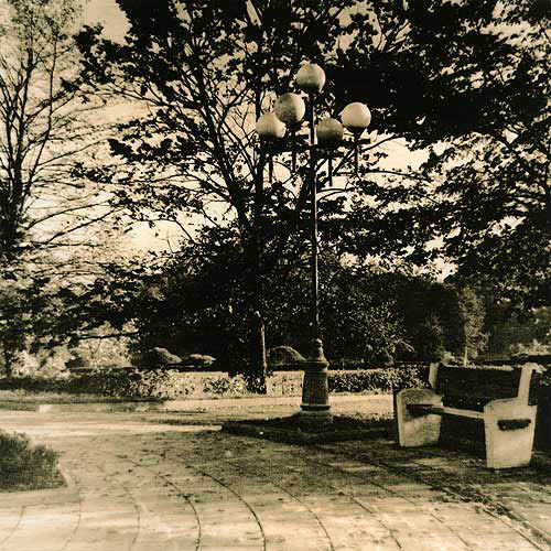 Lith print Bench and lantern
