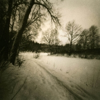 Pinhole and lith print Winter road