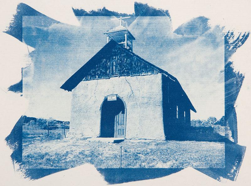 Cyanotype handcolored La Iglesia de San Acacio