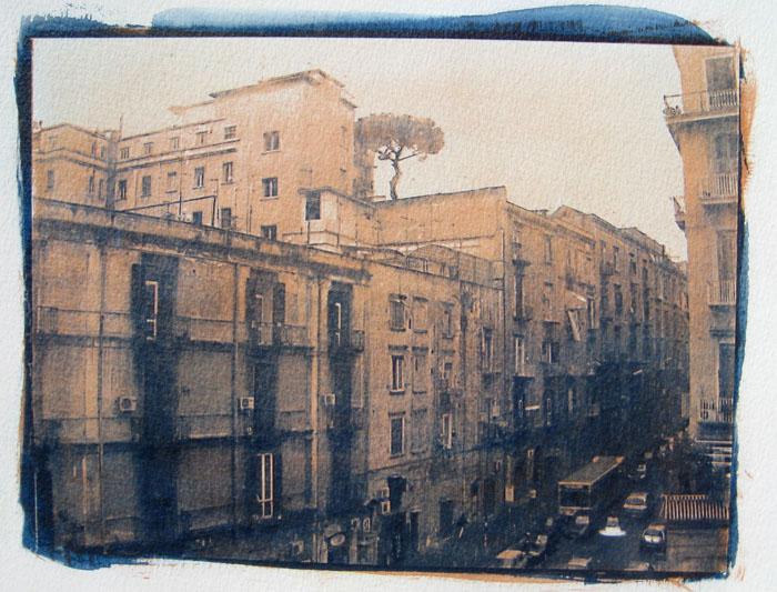 Gum over cyanotype Naples