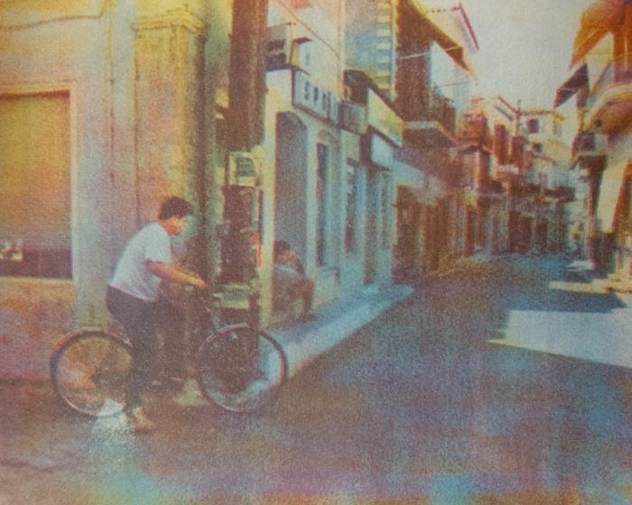 Tricolor gum A Street in Greece