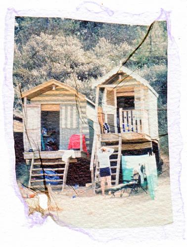 Polaroid transfer Beachhut 2