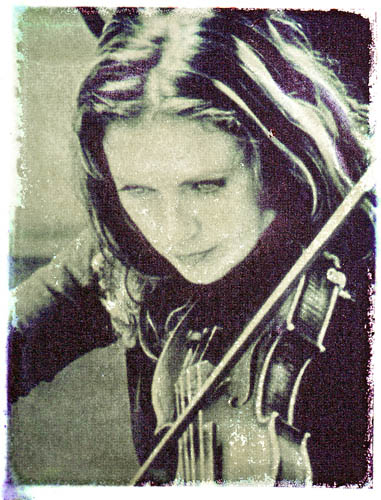 Polaroid transfer Girl with violin