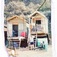 Polaroid transfer Beachhut 2
