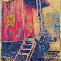 Polaroid image transfer Caboose