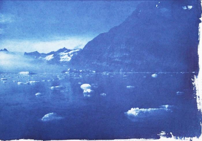 Cyanotype Greenland floating ice