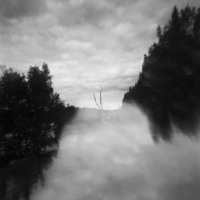 Pinhole double exposure landscape