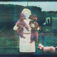 Tricolor gum over cyanotype Pink Poodles