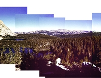 Cross processed Holga Young Lakes and Ragged Peak