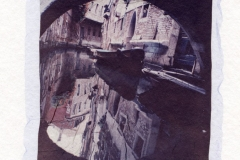 Polaroid emulsion lift Canal with red house Venice