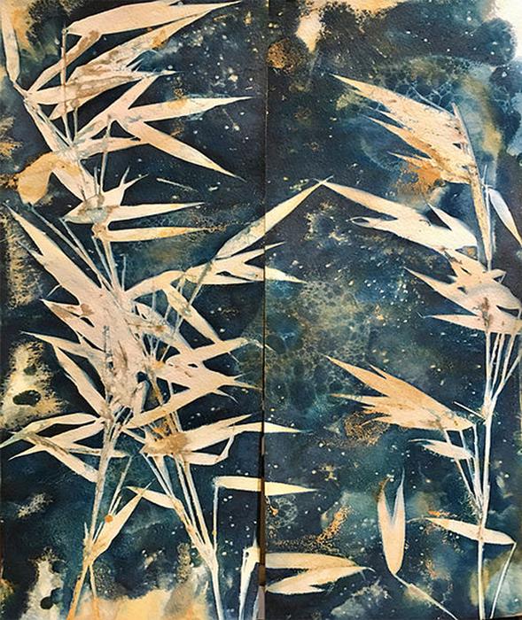 Cyanotype-Bamboo-Diptych