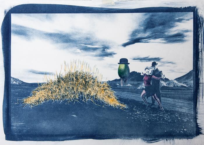 Cyanotype with acrylics Surrealism - Flamengo in Iceland