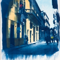 Cyanotype with acrylics Cuba - The Piano