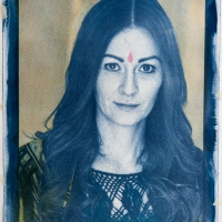 Cyanotype with acrylics Portrait - Elva