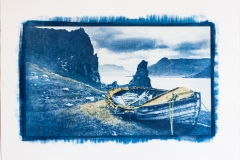Cyanotype with acrylics The Boat