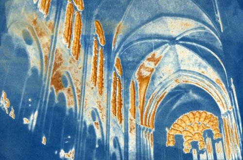 Vandyke over cyanotype Stained Glass Light