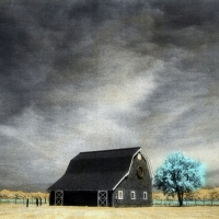 Handpainted infrared Vineyard Barn and Tree