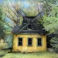 Handpainted infrared Windmill in Summer