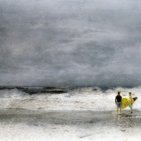 Handpainted-Surfers-at-Stormy-Beach