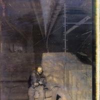Gum bichromate on panel Temporary shelter - milkyway underpass