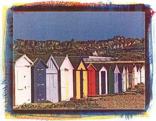 Gum-over-cyanotype-Beach-Cabins