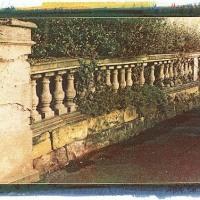 Gum-over-cyanotype-Balustrade