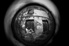 Silver gelatin peephole A girl and Her Horse