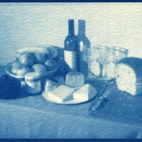 Cyanotype Still life with lunch