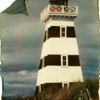 Polaroid emulsion lift Prince Edward Island Westpoint Lighthouse 1