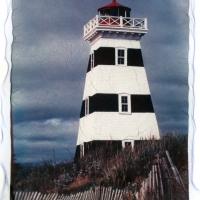 Polaroid emulsion lift Prince Edward Island Westpoint Lighthouse 2