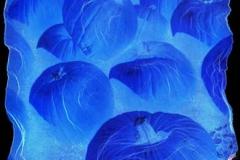 Polaroid emulsion lift blue pumpkins
