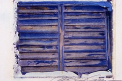 Polaroid image transfer Blue shutters cuba