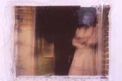 Polaroid image transfer Her at the door