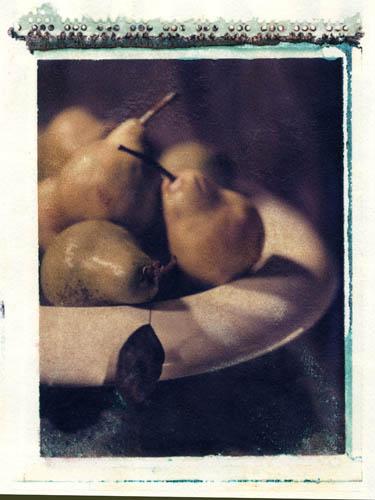 Polaroid transfer Pears in bowl