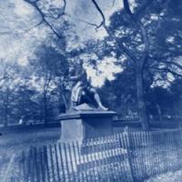 Pinhole cyanotype Statue