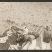 Handcolored salt print Beach blankets