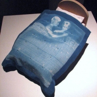 Cyanotype Bedspread selfportrait with Peter