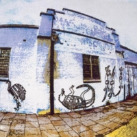 Tempera print aboriginal wall