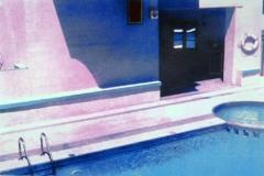 Tempera print beside the pool