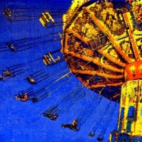 Casein pigment print Carnival Afternoon Swing Ride