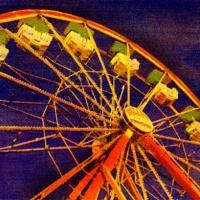 Casein pigment print Carnival Ferris Wheel at Dusk