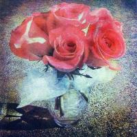 Casein pigment print Tricias roses