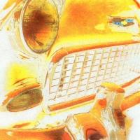 Casein pigment print Yellow grill