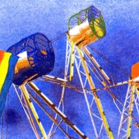 Casein pigment print Carnival Ride with Flag