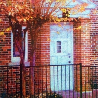 Casein pigment print Door no 1
