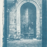 Cyanotype Stil life with bicycle