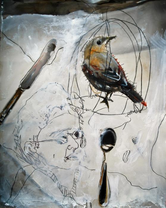 Pinhole handpainted Self Portrait with Bird