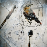 Pinhole handpainted Self Portrait with Bird