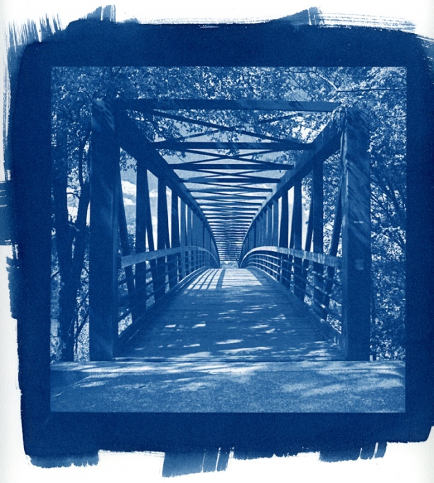 Cyanotype Animas River Foot Bridge